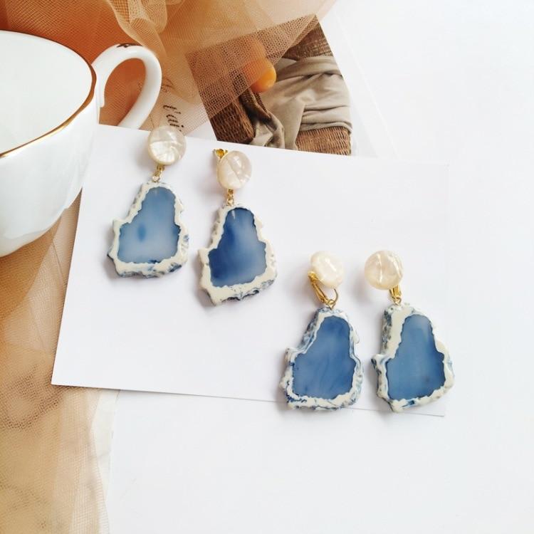 Summer Cool White Blue Irregular Iceberg Snow Mountain Earring Trendy Cute Cartoon Design Acrylic Snow Mountain Earring in Stud Earrings from Jewelry Accessories