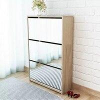 VidaXL современный, зеркальный шкаф для обуви с 3-Слои ящиков для хранения обуви, три Раскрывающееся выдвижными ящиками