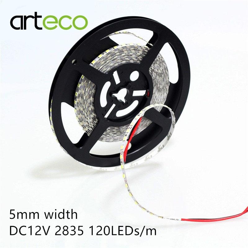 DC12V LED Strip 2835 5mm Narrow Strip 120leds/m 5m IP20 No Waterproof 2835 LED Strip White/warm White/blue/red/green