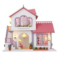 Miniature Dollhouse Kit DIY Handcraft Wooden Doll House Model with Furniture LED Lights Toys Birthday Gift for Children Adult