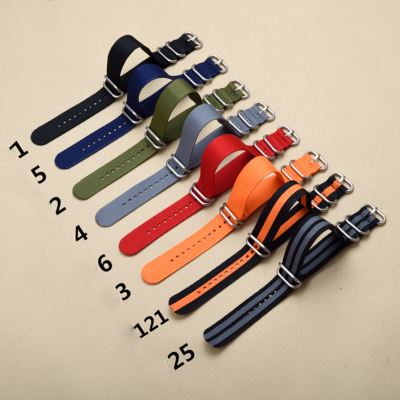 Resistant Straps ZULU NATO Watchband Heavy Duty Nylon Canvas Strap Ring Buckle 18mm 20mm 22mm 24mm Striped Men Replacement Band image