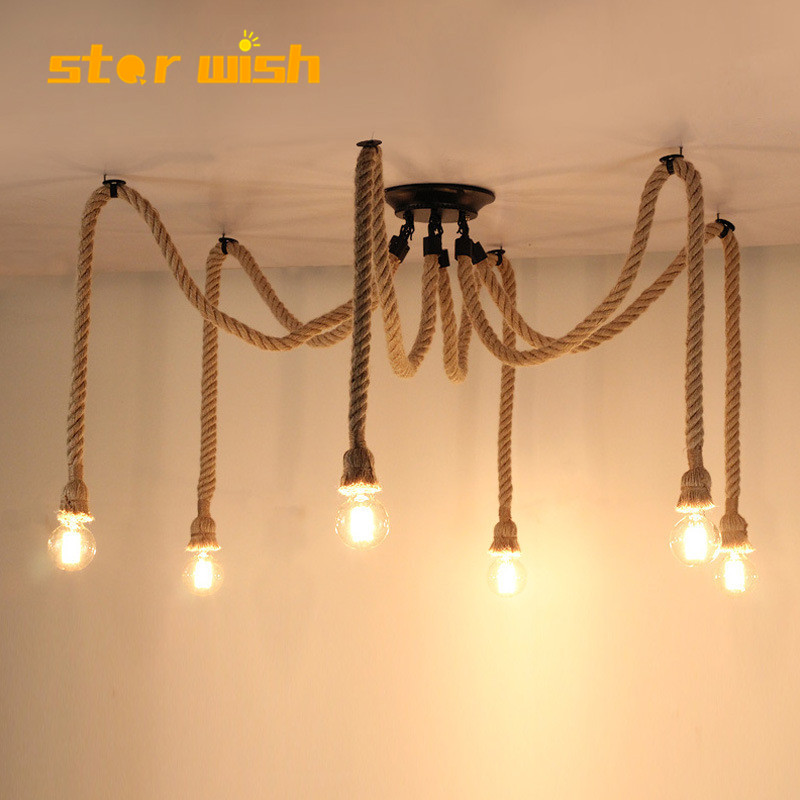 Star Wish Retro Nordic Industrial Vintage Staircase Bars Hemp Rope Creative Personality Restaurant Country Bar Pendant Light