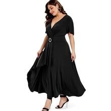 New Elegant Women Maxi Dress Ruffle Short Sleeve Lady Wrap Overlap Dress 2019 Summer Sexy Female Solid Dress Robe Femme Vestidos недорого