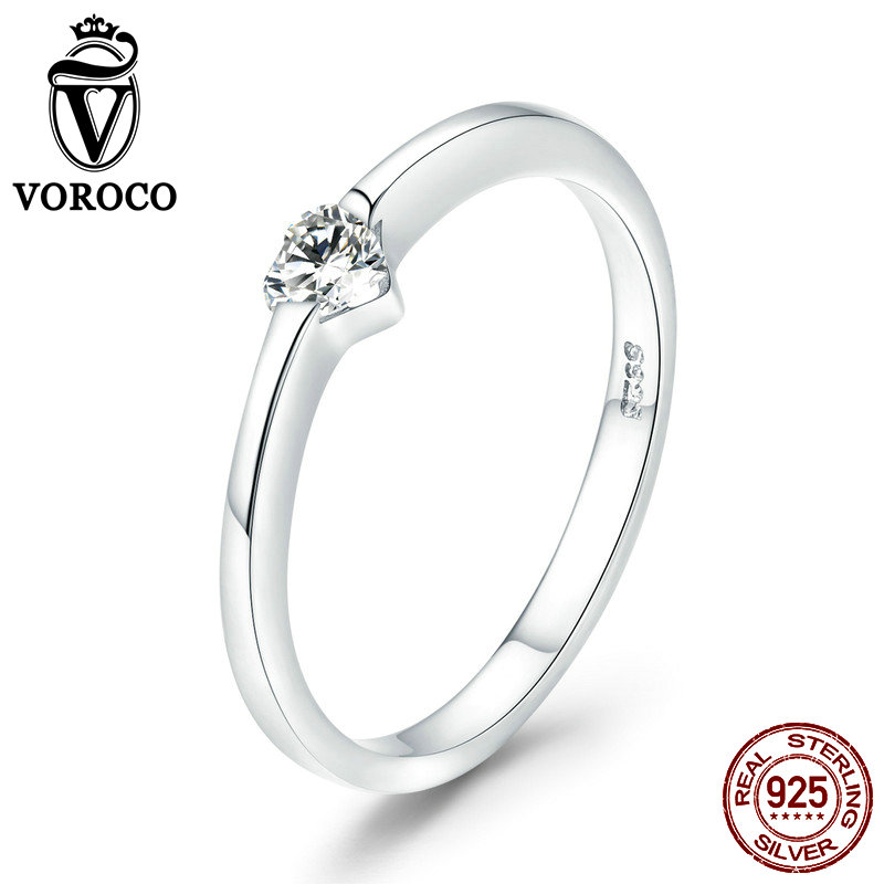 2018 VOROCO Real 925 Sterling Silver Simple Grace Rings For Women  Clothing Accessories Fine Jewelry Wedding Rings  BKR450