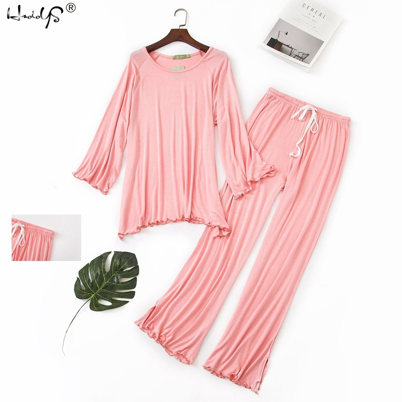 2019 Plus Size Sleepwear Women   Pajama     Sets   Women Casual Soft Modal Striped Print Long Sleeve O-Neck Shirt and Pants   Pajama     Set