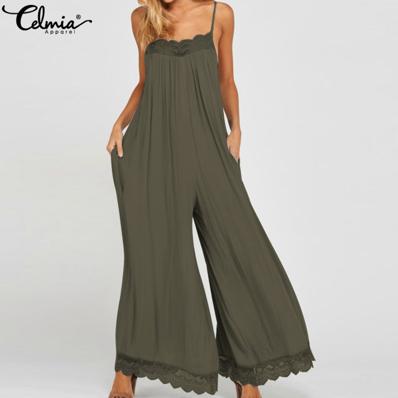 Celmia 5XL Summer Backless Long Romper 2020 Women Sexy Straps Lace Jumpsuits Casual Sleeveless Wide Leg Pants Overalls Plus Size