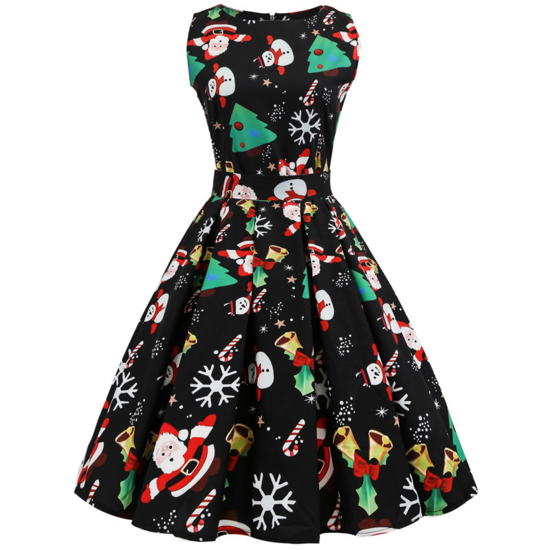 Vintage Autumn Winter Christmas Party Dress Women Retro Style O-neck Sleeveless Swing Party Dresses Female Costume 5 Color