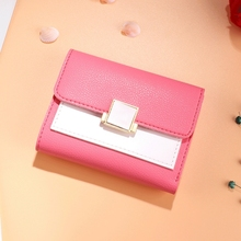 Wallet Female Short Fashion Student Small New Three Folding Change Clip Card Package Tide Purse