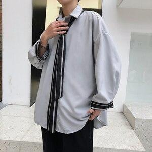 Image 4 - 2019 wiosna i modele letnie koreańska wersja trendu luźne casual młodzieżowe jednolity kolor koszula z długimi rękawami Camisa Masculina