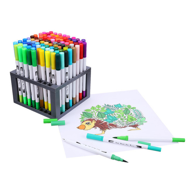 12/18/24/36/48/72/100 Colors Fineliner Drawing Painting Watercolor Art Marker Pens Dual Tip Brush Pen School Supplies Stationery 4
