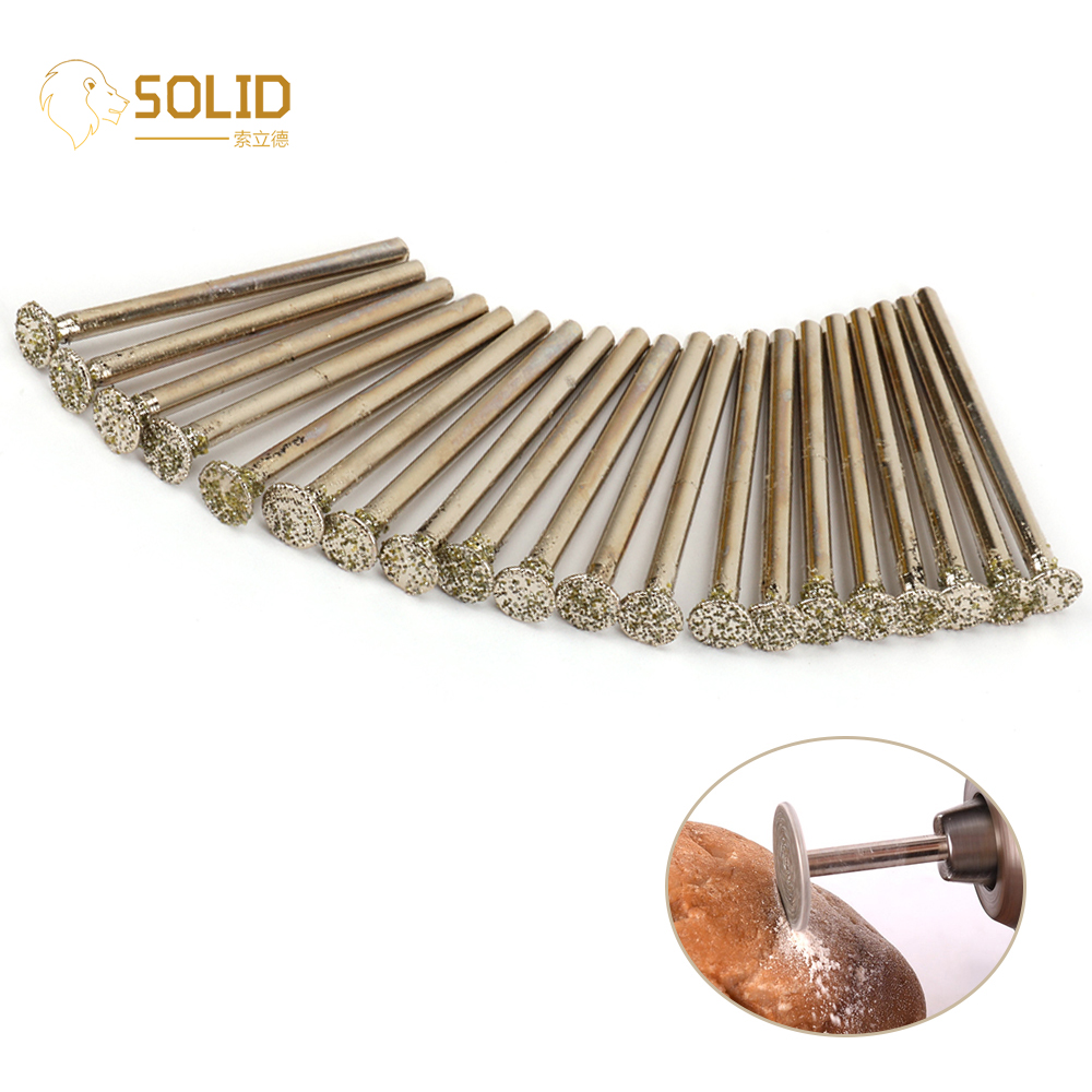 20Pcs 6mm 46 Grit Diamond Grinding Head T Type Burr Bits Rotary Tool For Carving Polishing Jewelry Jade Glass With 1/8
