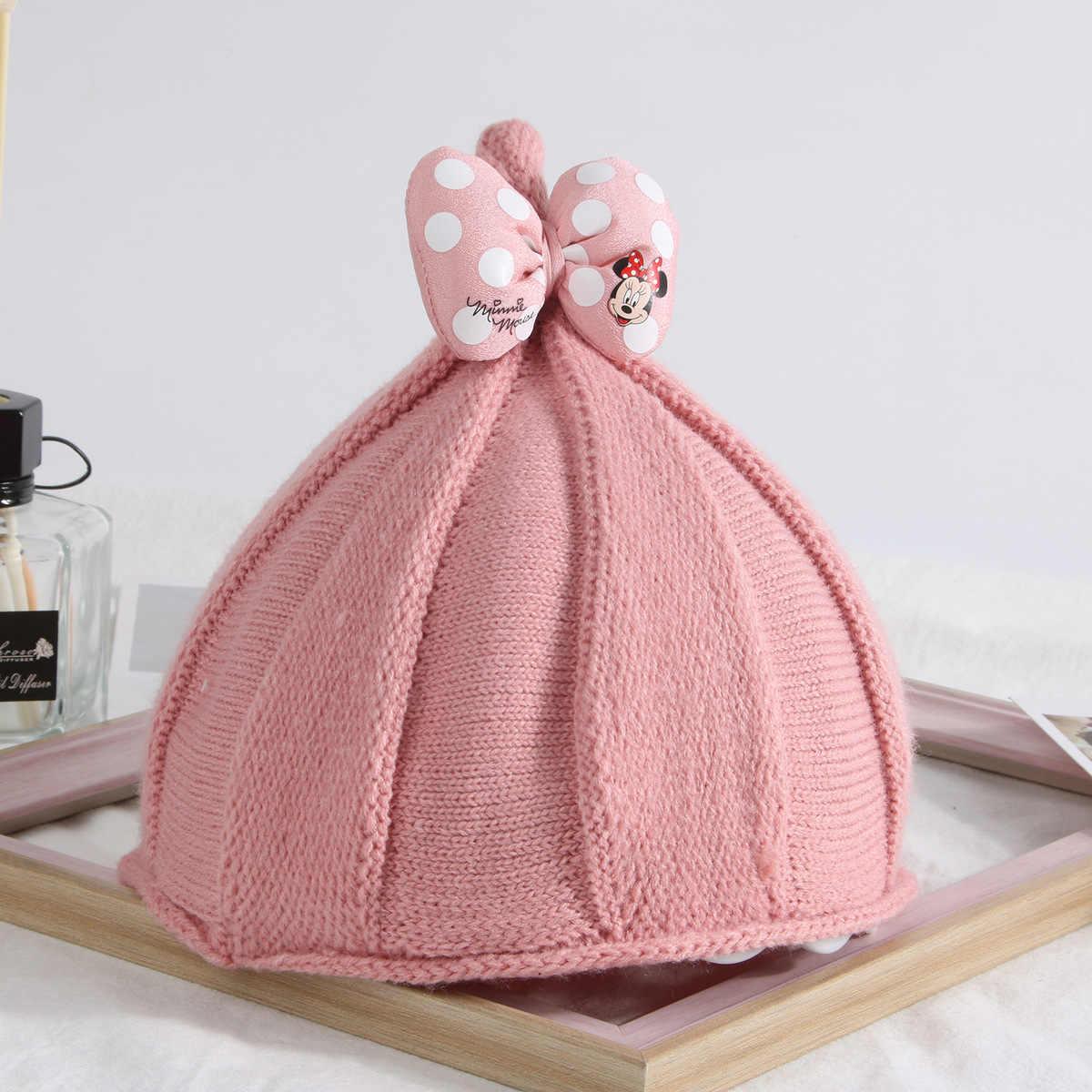 ab139ecb4f0 ... Disney Kids Minnie Hat Stars Earmuffs Wool Hats Set Head Cap Boy And Girl  Tide Baby ...