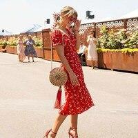 Sweet Red Flower Print Dress Trapezoidal Shape Summer V neck Bow Tie Separation Dress 90 S Street Casual Dress Vestido Sundress