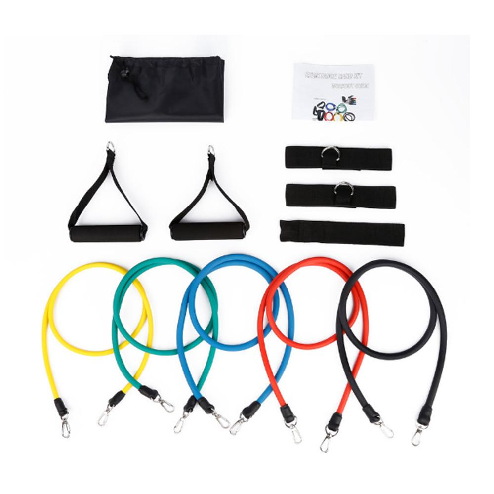 11pcs/set Pull Rope Fitness Exercises Resistance Bands Excerciser Body Training Workout Door Anchor Ankle Straps With Bag Kit