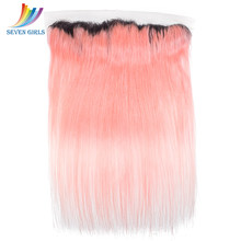 Sevengirls Brazilian Straight 13*4 Lace Frontal Closure Ombre 1B/Pink 100% Virgin Human Hair 10-20 Inch For Women Free Shipping(China)