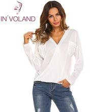 Brand Long Sleeve T-Shirt Women Casual Tops Tee Shirt Femme Solid V-Neck Female T Shirts Street Office Blusas Mujer Clearance finejo 2019 long sleeve t shirt women casual tops tee shirt femme solid sexy v neck female t shirts street office blusas mujer