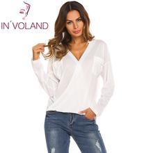 купить Brand Long Sleeve T-Shirt Women Casual Tops Tee Shirt Femme Solid V-Neck Female T Shirts Street Office Blusas Mujer Clearance дешево