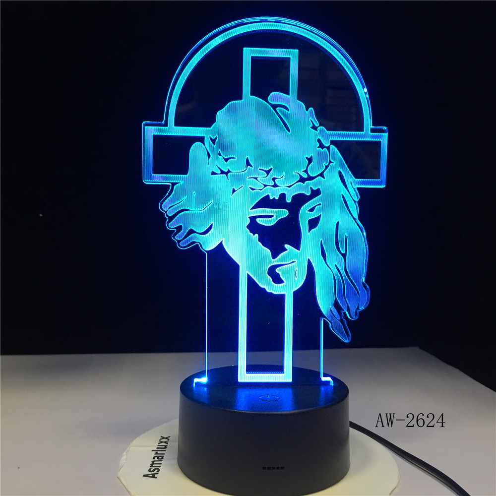 Shepherd Psalm Jesus Christ Cross Usb 3d Led Night Light Gifts Desk Crucifix Table Lamp Bedroom The Lord Is My Shepherd AW-2624