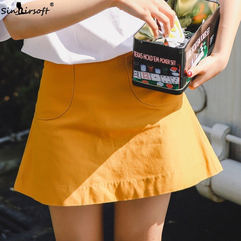 Cotton Sweet Girls High Waist A Line Short Skirt Women Solid Casual Orange Streetwear Mini Skirts Female Pocket Summer Hot Sales in Skirts from Women 39 s Clothing