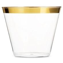 50 шт./лот 201-300 мл 9 унций Золотые пластиковые стаканчики Свадебная посуда для вечеринки в честь Дня рождения одноразовые стаканчики вечерние принадлежности новогодние вечерние принадлежности