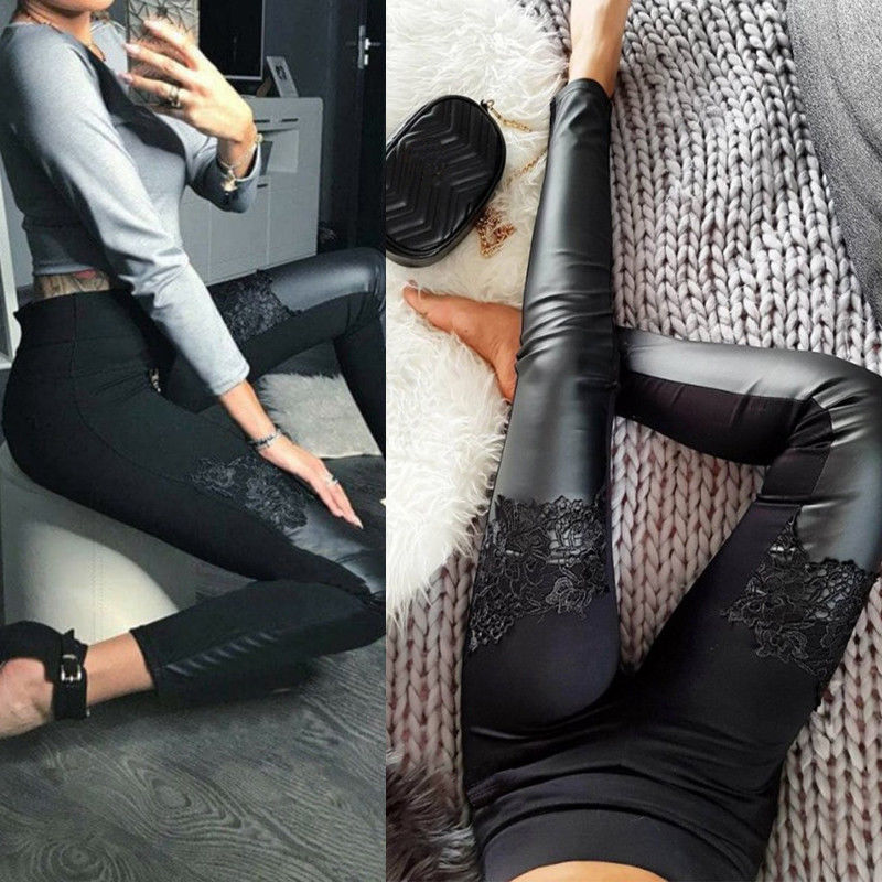 2019 Fashionable Women Leather Lace Patchwork Leggings Popular Ladies Stretch Fitness Slim Fitted Trousers Pants
