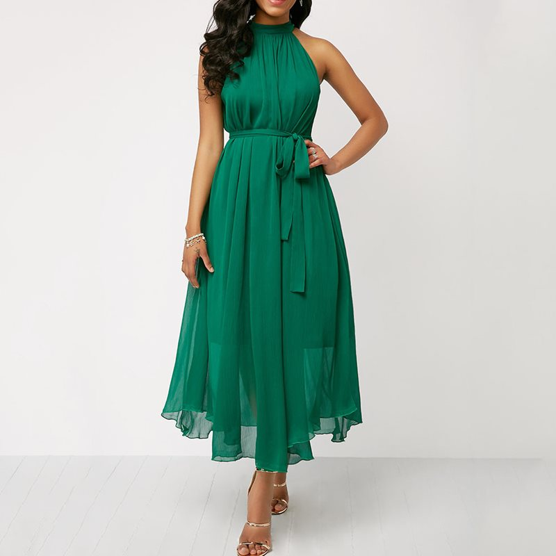 <font><b>Chiffon</b></font> Summer <font><b>Dress</b></font> <font><b>Women</b></font> Halter <font><b>Sexy</b></font> Party Black Off Shoulder <font><b>Elegant</b></font> Beach Lace Up Green Romantic <font><b>Fashion</b></font> Midi <font><b>Dresses</b></font> Female image