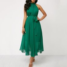 Chiffon Summer Dress Women Halter Sexy Party Black Off Shoulder Elegant Beach Lace Up Green Romantic Fashion Midi Dresses Female