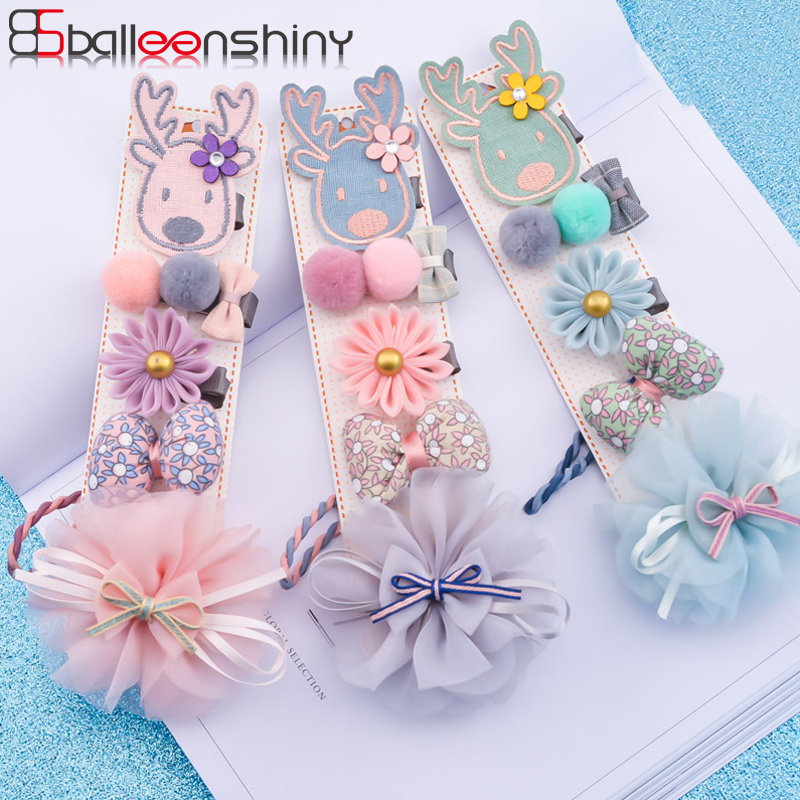 BallleenShiny 5PCS Plush Ball Flowers Hairpins Set Baby Girls Cartoon Elk Hair Clip Bowknot Rubber Band Kids Hair Accessories