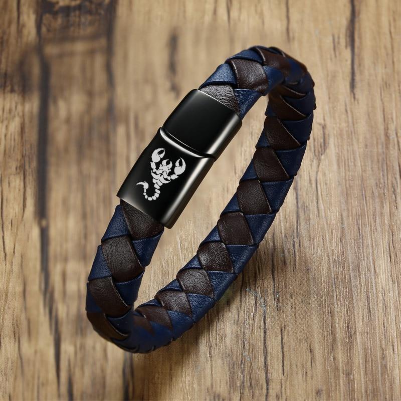 Vnox Genuine Leather Men Bracelet Engraved Scorpion Wolf Dragon Male Personalized Gift 8.2″