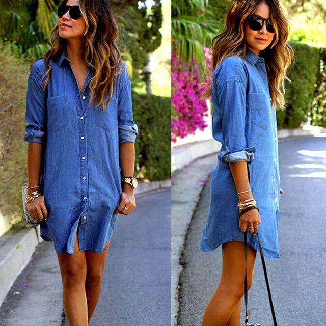 New Womens Autumn Fashion Casual Pocket Long Sleeve Button Loose Denim Dress Ladies Loose Tops Mini Dress Dropshipping Supplier