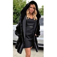 new fashion 2018 coat Europe and America autumn winter imitation fur hoodies long section Slim