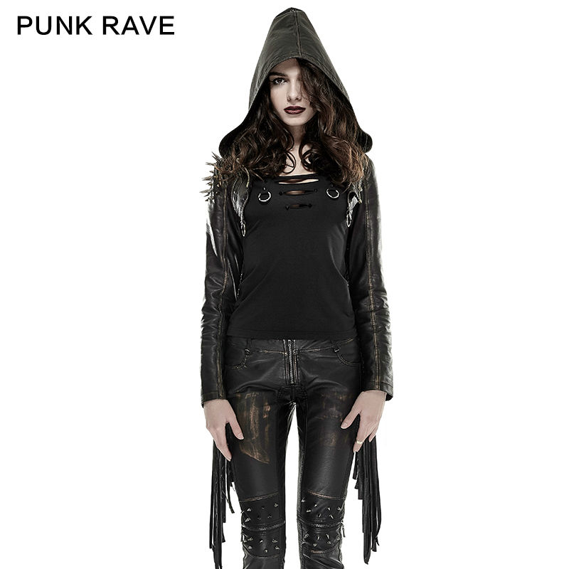 PUNK RAVE Women Punk Short Jackets Rivet Tassel Novelty Personality Leather Hooded Jacket Hip Hop Streetwear