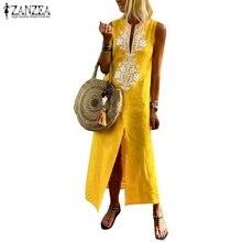 442804e2b7 ZANZEA Women Cotton Linen Dress Long Maxi Vestidos Boho Print Summer  Dresses Female Sleeveless Split Hem