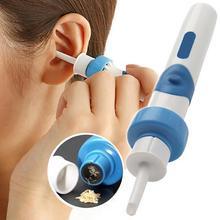 Синий удобный очиститель для ушей, электрический беспроводной пылесос для ушей, Безопасный инструмент для чистки ушей
