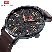 MINI FOCUS Fashion Genuine Leather Watch For Men Luxury Casual Men's Wristwatch Clock Quartz Arabic Number Calendar Analog Watch ybotti number analog quartz watch