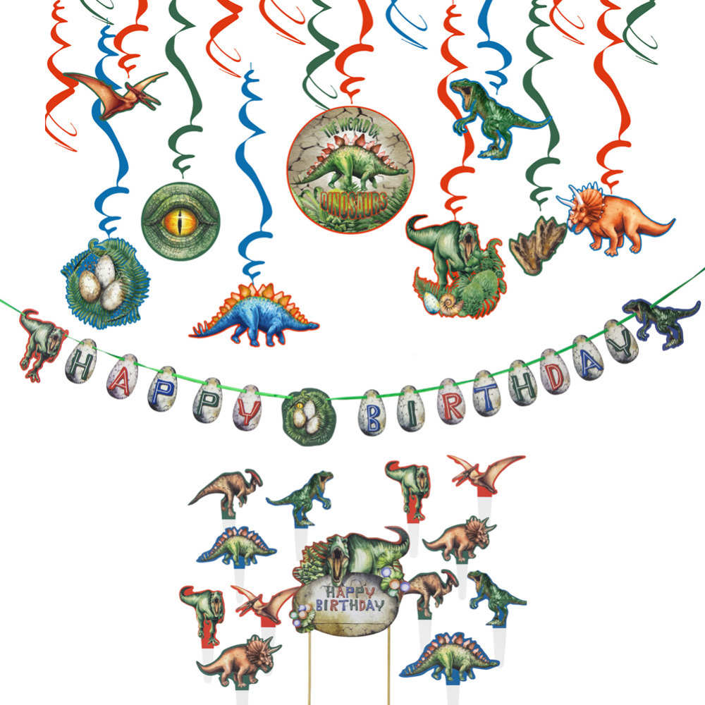 Dinosaur Birthday Party Decoration Set Hanging Swirl Decoration Cake Topper Kit Cupcake Topper Happy Birthday Banner Dino Party