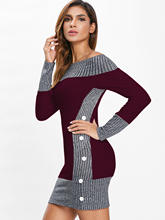 cd28f158ff2 Wipalo Contrast Color Knitted Sweater Dress With Buttons Women Off Shoulder  Long Sleeve Sexy Lady Bodycon