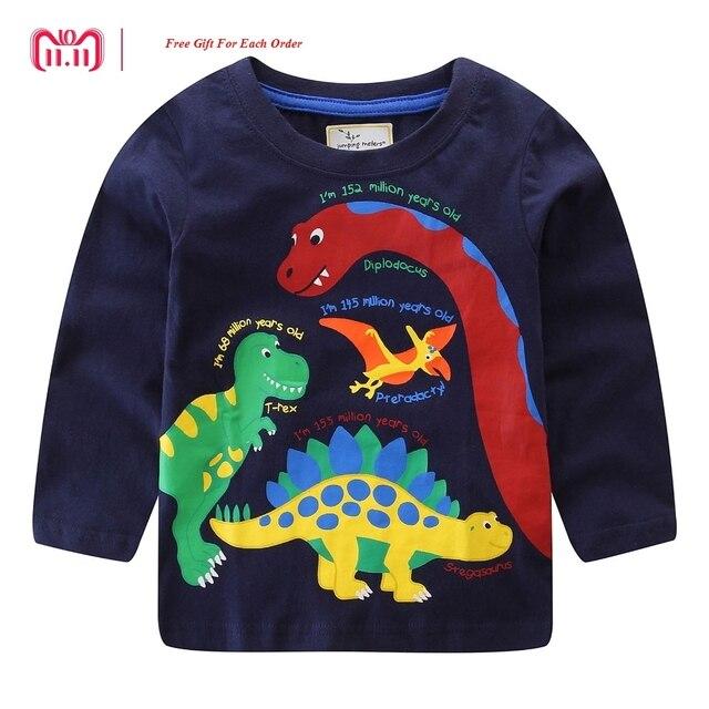 Saltar metros marca 2018 manga larga otoño primavera invierno camiseta para  bebé niños niñas de dibujos 73aa75041af