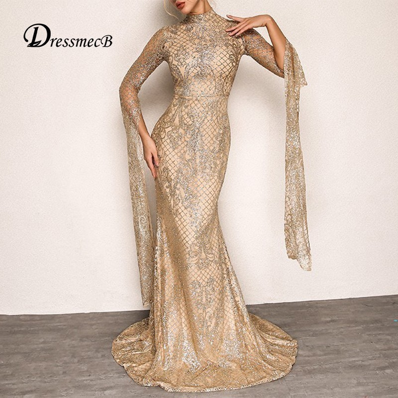 Detail Feedback Questions about DRESSMECB Women Vintage Maxi Party Dress  2018 Summer Autumn Floral Gold Sequin Dress Elegant Wedding Bodycon Dresses  ... 8c580e9453b5