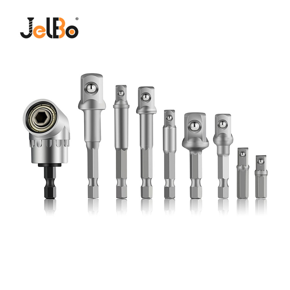 3Pcs Socket Adapter Impact Hex Shank Drill Bits Bar Set 1//4 3//8 1//2,1//4 Cr-V Hex Shank Impact Grade Socket Adapter//Extension Set+105 Right Angle Drill Driver Extension Screwdriver Drill Attachment