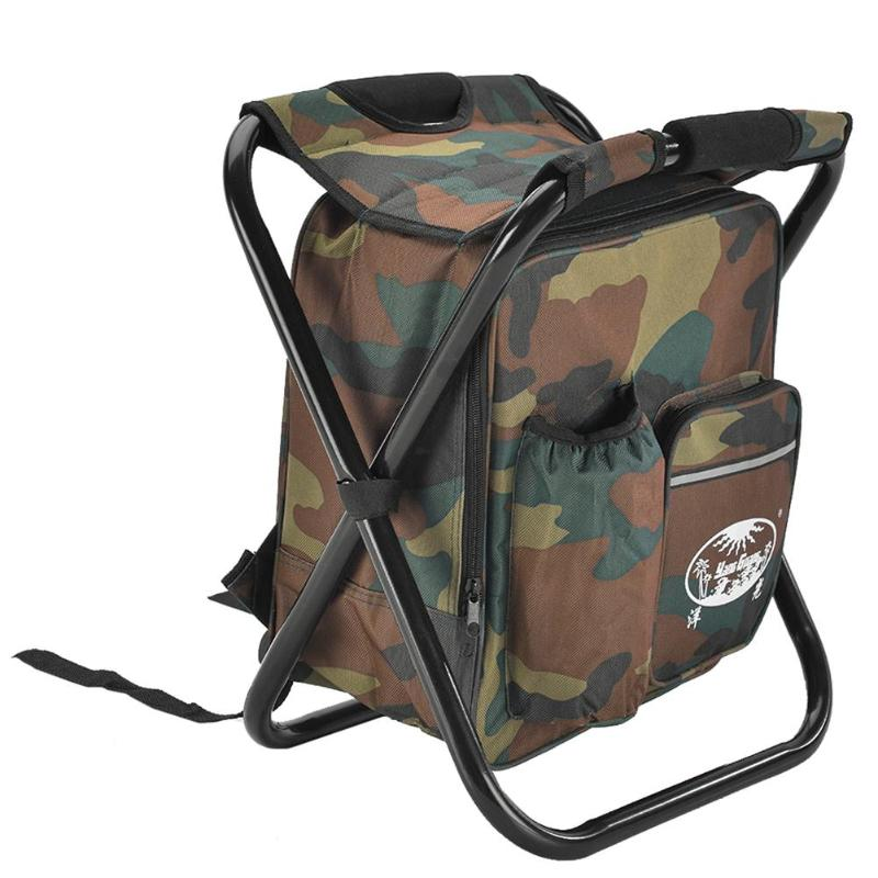 2 in 1 Folding Fishing Chair Bag Fishing Backpack Chair Stool Convenient Wear-resistantv for Outdoor Hunting Climbing Equipment