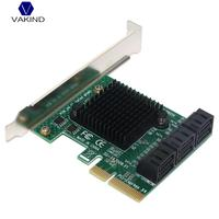 VAKIND SA3006 PCI E x4 to 6 Port SATA 3.0 6Gbps Controller Card with Heat Sink Expansion Adapter Board for Mining BT for Desktop
