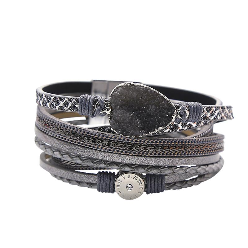 Multilayer Leather Braided Bracelet Bohemian Style Natural Stone Zircon Inlayed With Magnet Buckle Wristband For Girls Women