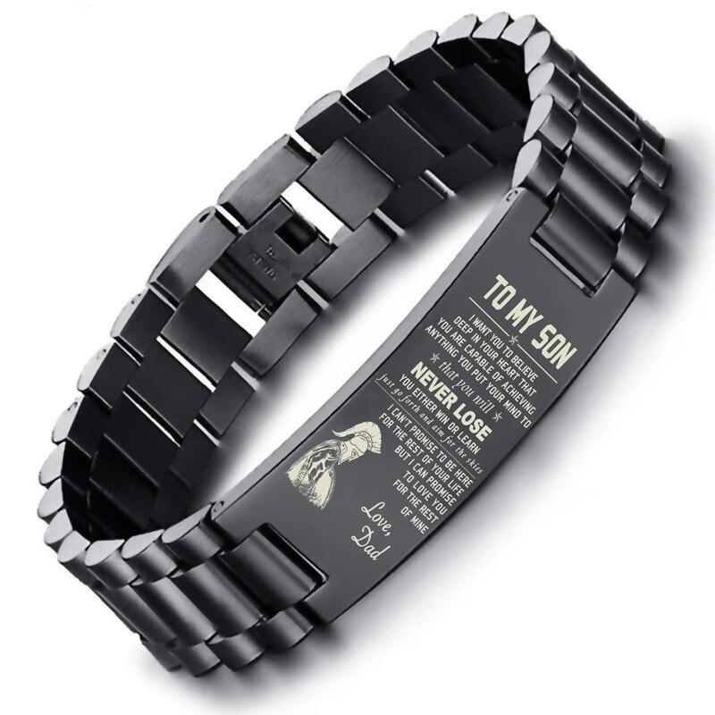 Zu Meinem Sohn Tief In Ihr Herz Liebe Papa Edelstahl Männer Uhr Band Link Armband Brackelts Brazalet Armband Assorted farben