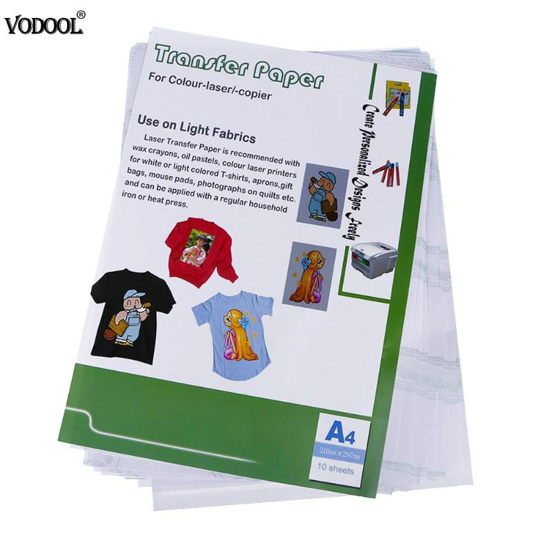 10pcs A3 Laser Heat Transfer Paper Self Weeding Paper For T-shirt Aprons Bags Thermal Transfers Paper Art Craft Printing Paper