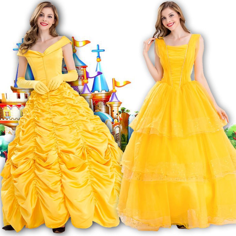Hot Beauty Beast Costume Adult Deluxe Princess Belle Dress Party Fantasia Christmas Halloween Dress Cosplay Fancy Costume