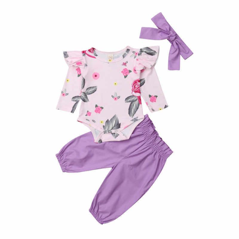 2018 Güzel Yenidoğan Bebek Kız Çiçek Pamuk Setleri Uçan Kollu Çiçek Romper harem pantolon Kafa Bandı 3 Adet Kıyafetler Güz Giysileri 0 -2 T