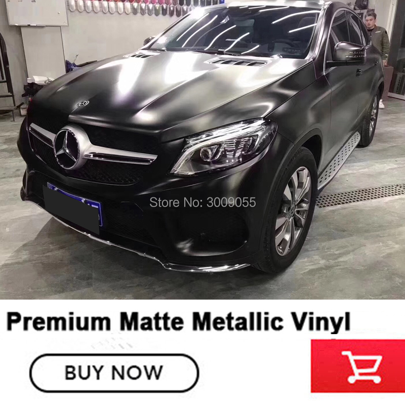Newest hot Black matte metallic Vinyl Wrap with Air Bubble Free metallic Black Foil Car Wrap Film Vehicle High end1.52x20m/Roll