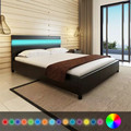 Black Artificial Leather Bed With LED Headboard 200 X 160 Cm Bedroom Furniture 18W LED Bed With Remote Control