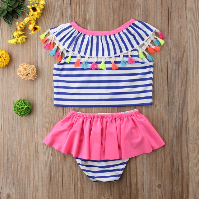 Top Selling Kids Baby Girls Tassel Bikini Set Striped Swimwear Ruffles Swimsuit High Waist Bathing Suit Tutu Toddler Beachwear